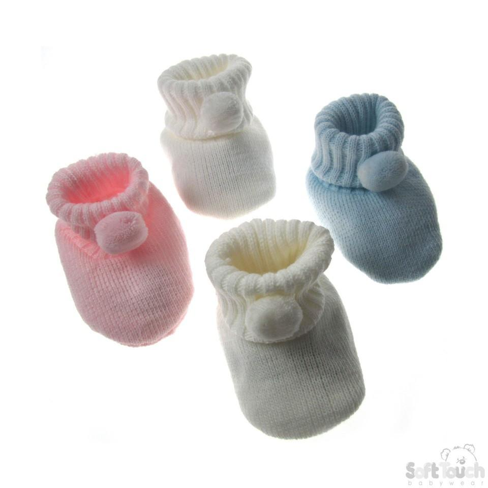 Acrylic Pom-Pom Baby Bootees (4 Cols): S408