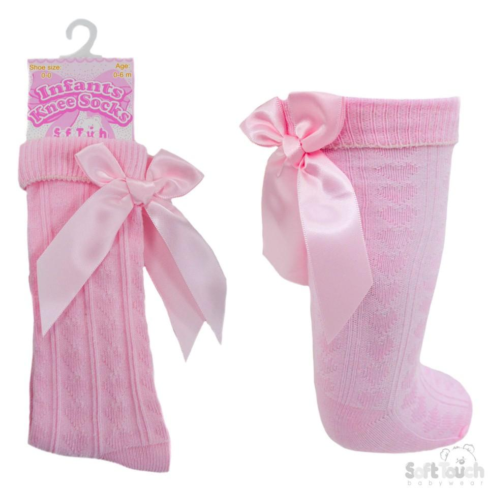 Infants Ribbed Knee Length Socks W/Stitched Bow: S41-P