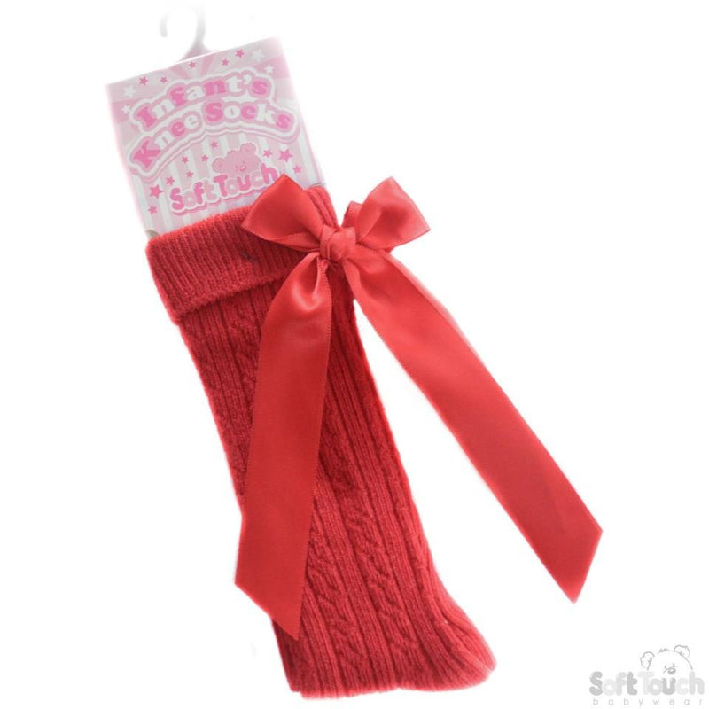 Infants Ribbed Knee Length Socks W/Stitched Bow: S41-R - Kidswholesale.co.uk