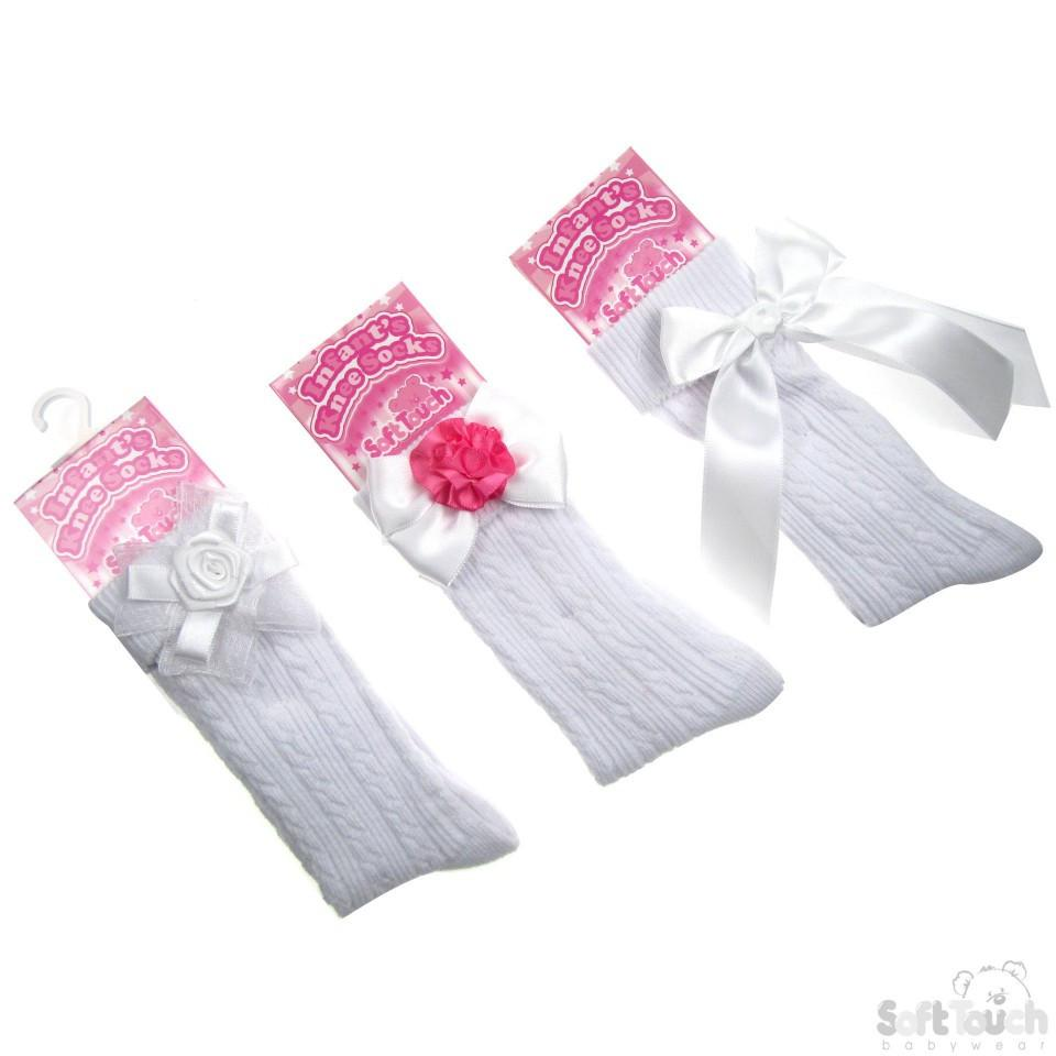 RIBBED KNEE LENGTH SOCKS W/STITCHED BOWS: S42-W