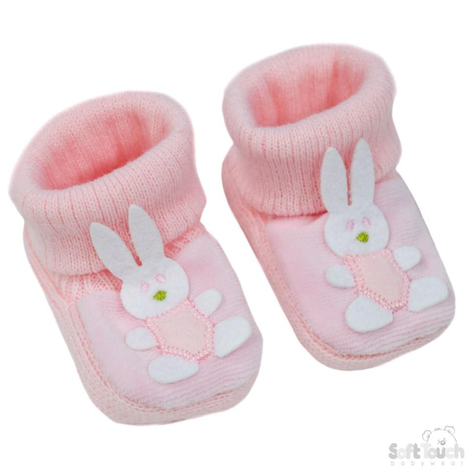 Acrylic Turnover Baby Bootees - Bunny : S423