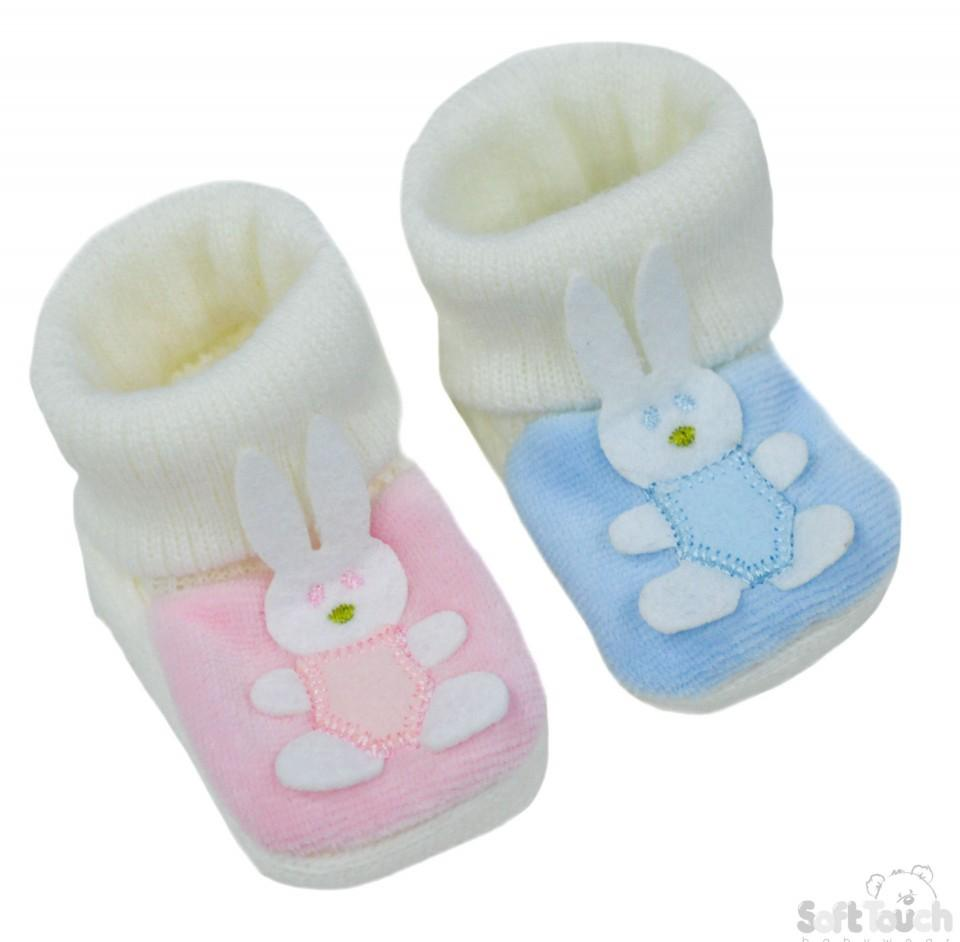 Acrylic Turnover Baby Bootees - Bunny : S425