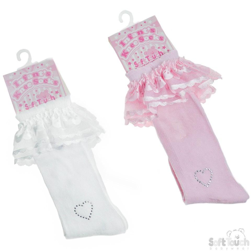 PLAIN KNEE LENGTH SOCKS W/LACE & DIAMONTE HEART: S44