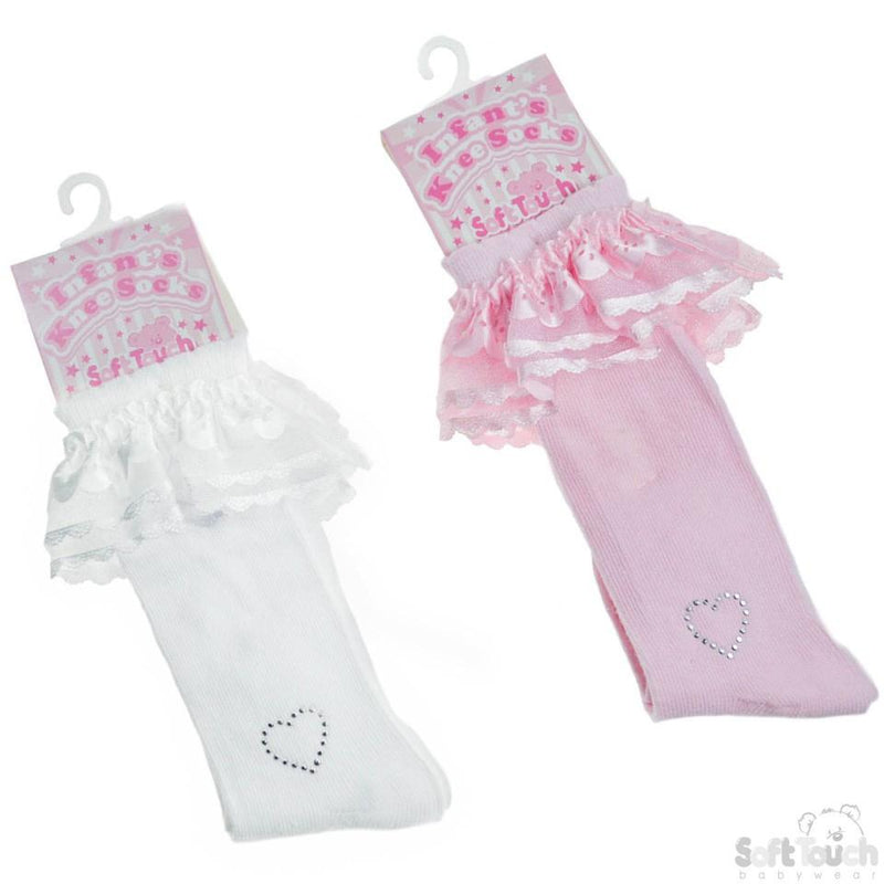 PLAIN KNEE LENGTH SOCKS W/LACE & DIAMONTE HEART: S44 - Kidswholesale.co.uk
