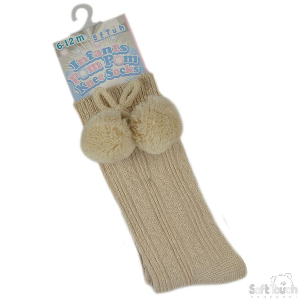 Beige Knee Length Pom-Pom Socks (0-12 Months) S47-BE