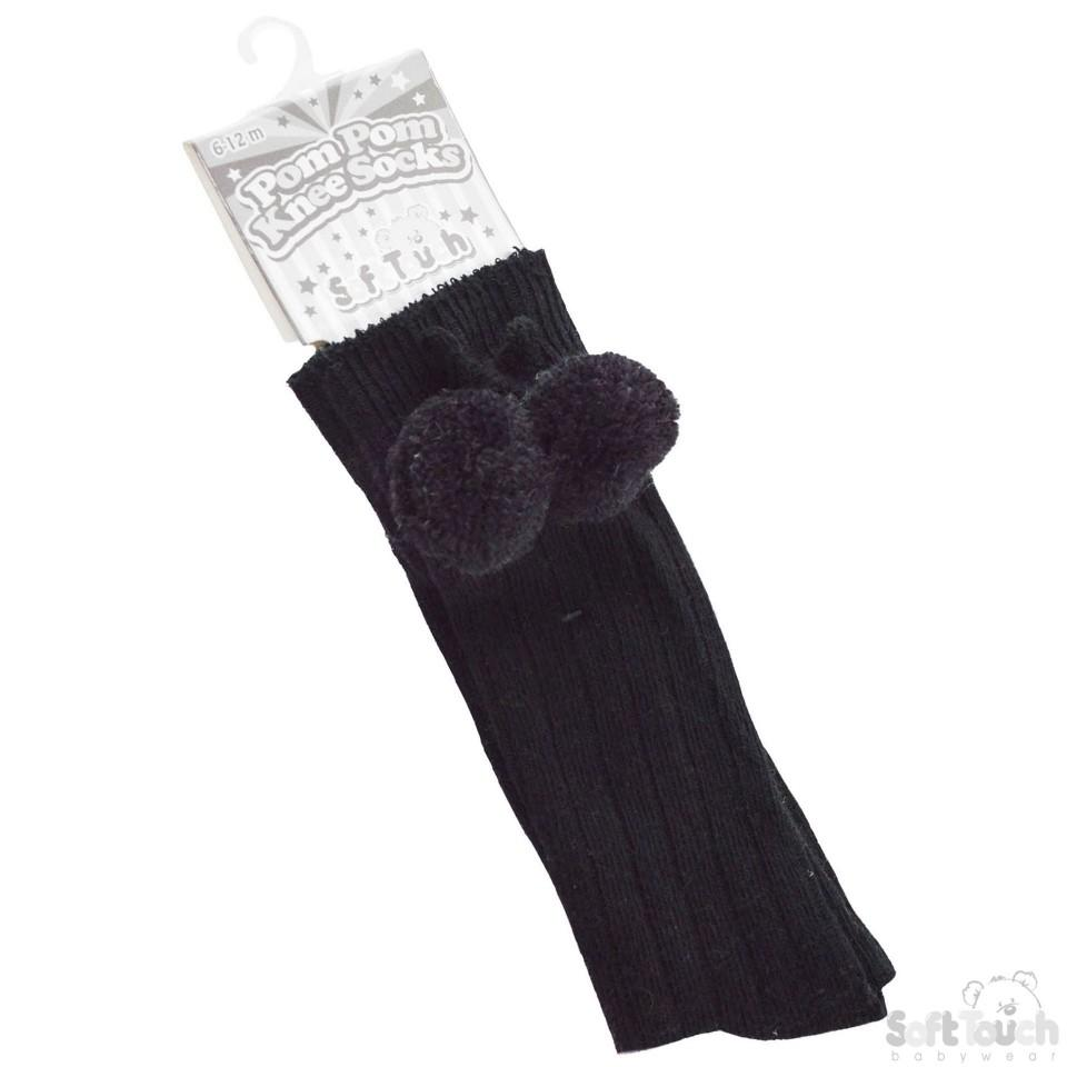 Infants Ribbed Knee-Length Pom-Pom Socks: S47-BLK