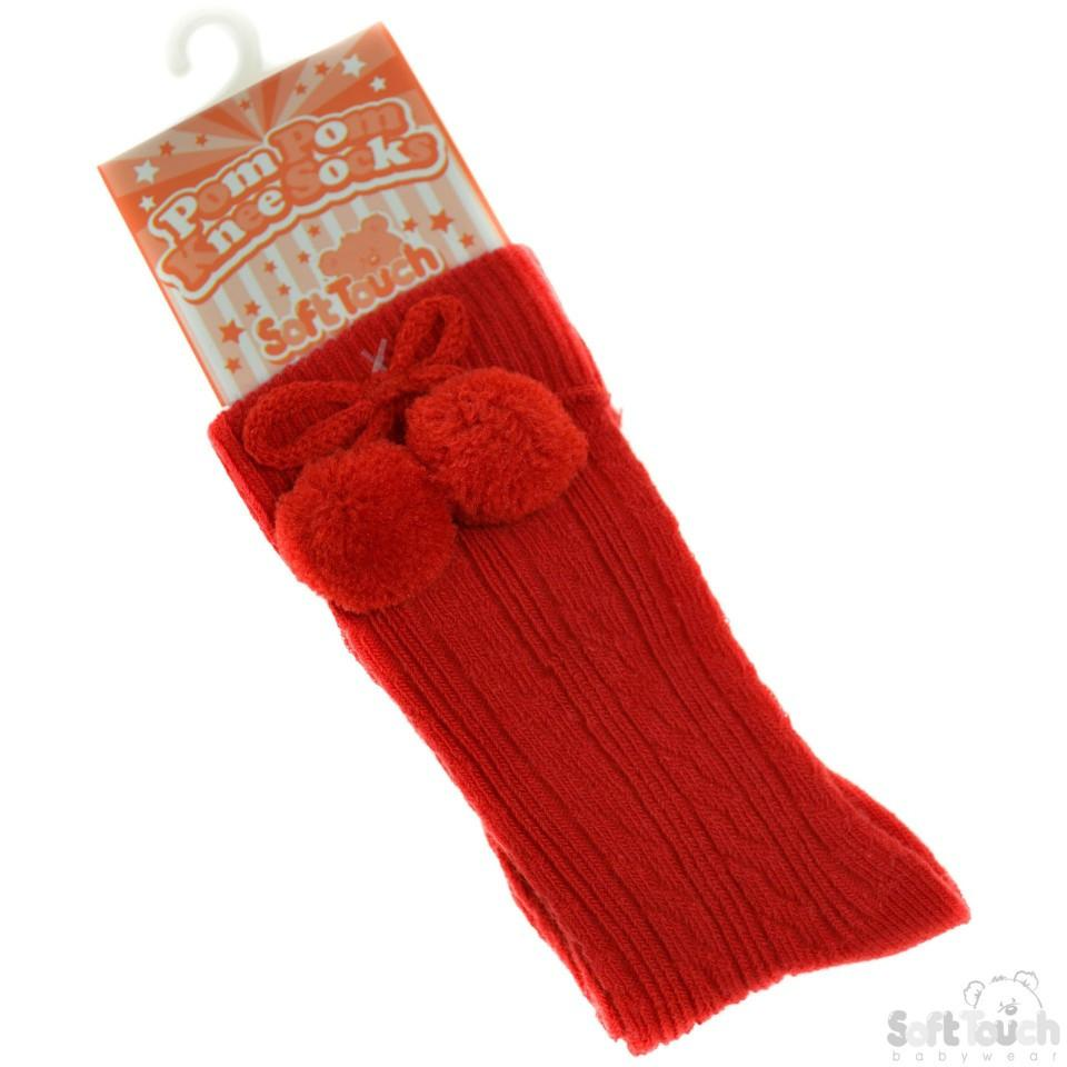 Knee Length Pom-Pom Socks: S47-R