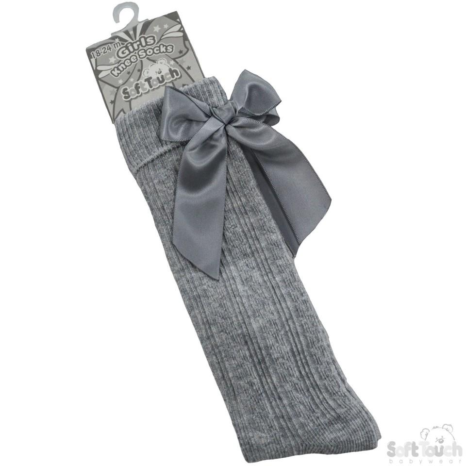 Children Ribbed Knee Length Grey Socks W/Stitched Bow S51-G
