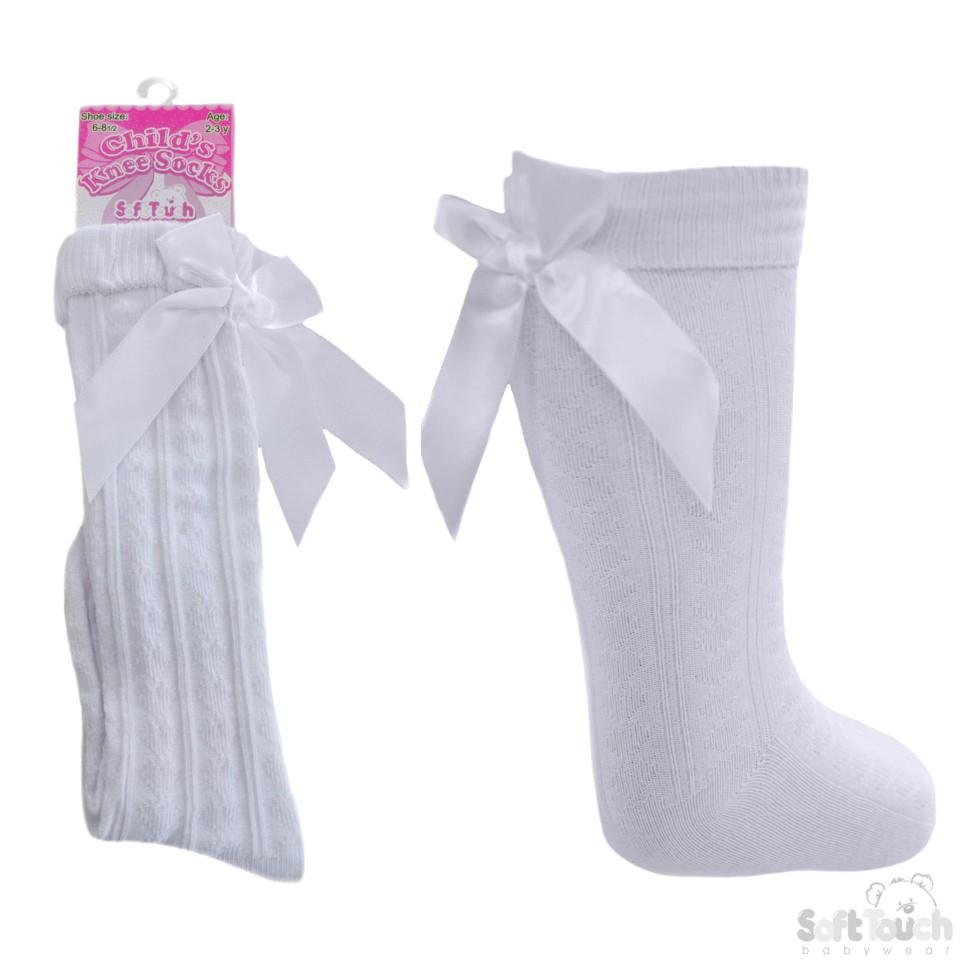 Children Ribbed Knee Length White Socks W/Stitched Bow S51-W