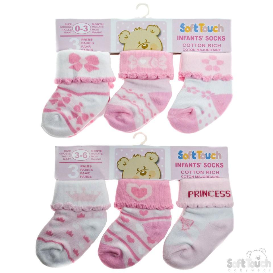 3 Pack Girls Socks  0-12 Months-S67