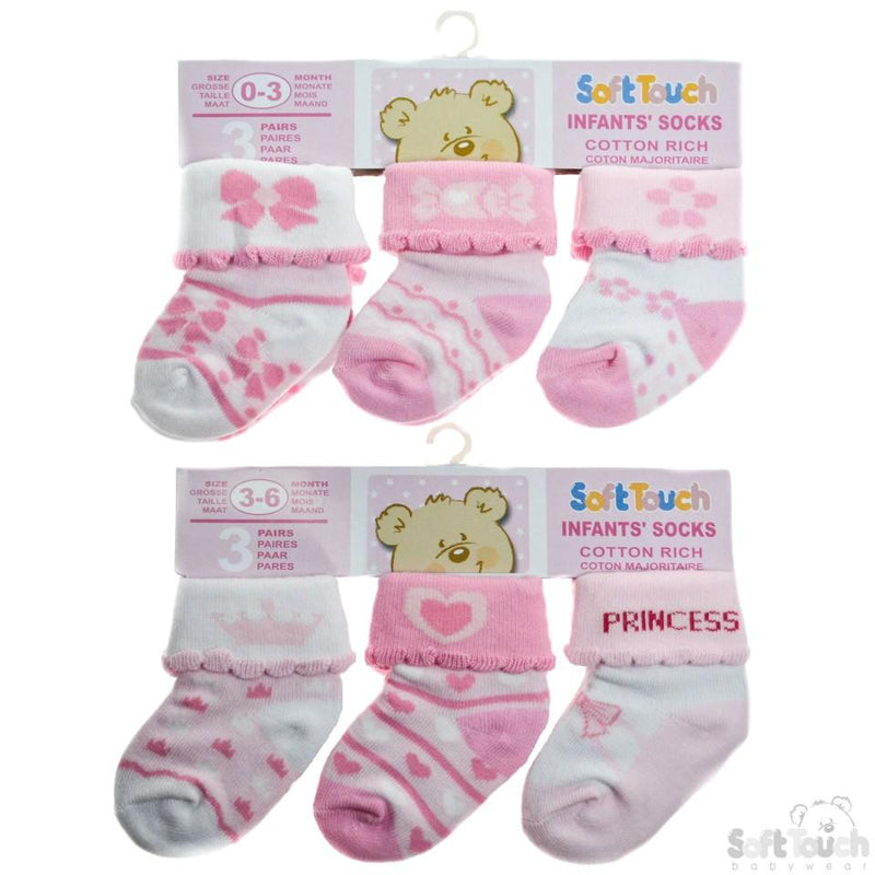 3 Pack Girls Socks  0-12 Months-S67 - Kidswholesale.co.uk