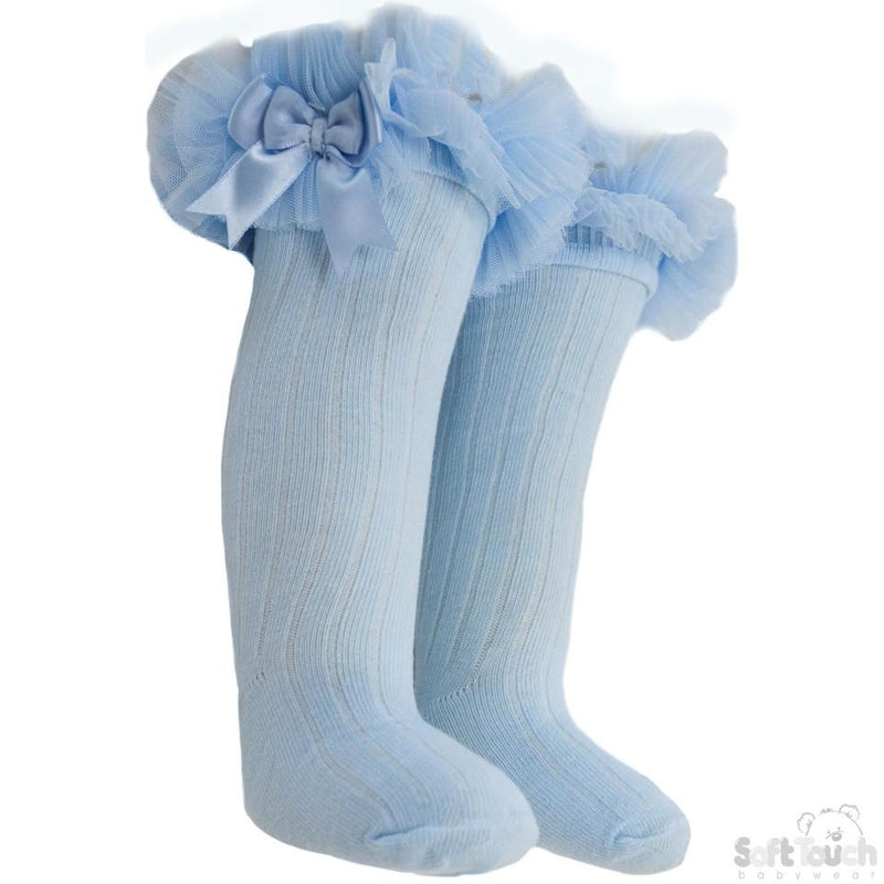 Infants Ribbed Knee-Length Socks W/Organza Lace & Bow - NB-18M - S72-B - Kidswholesale.co.uk