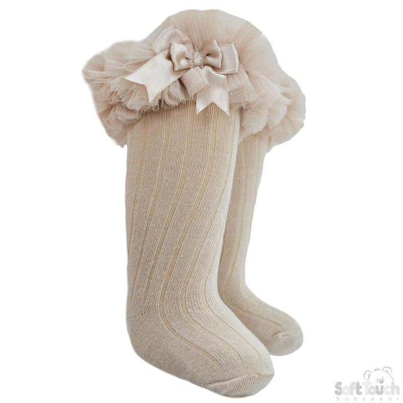 Infants Ribbed Knee-Length Socks W/Organza Lace & Bow - NB-18M - S72-BE - Kidswholesale.co.uk