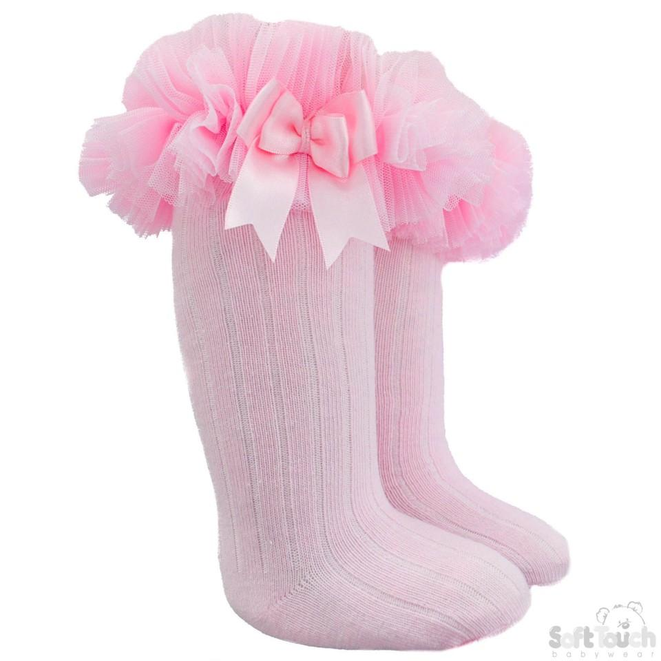 Infants Ribbed Knee-Length Socks W/Organza Lace & Bow - NB-18M - S72-P