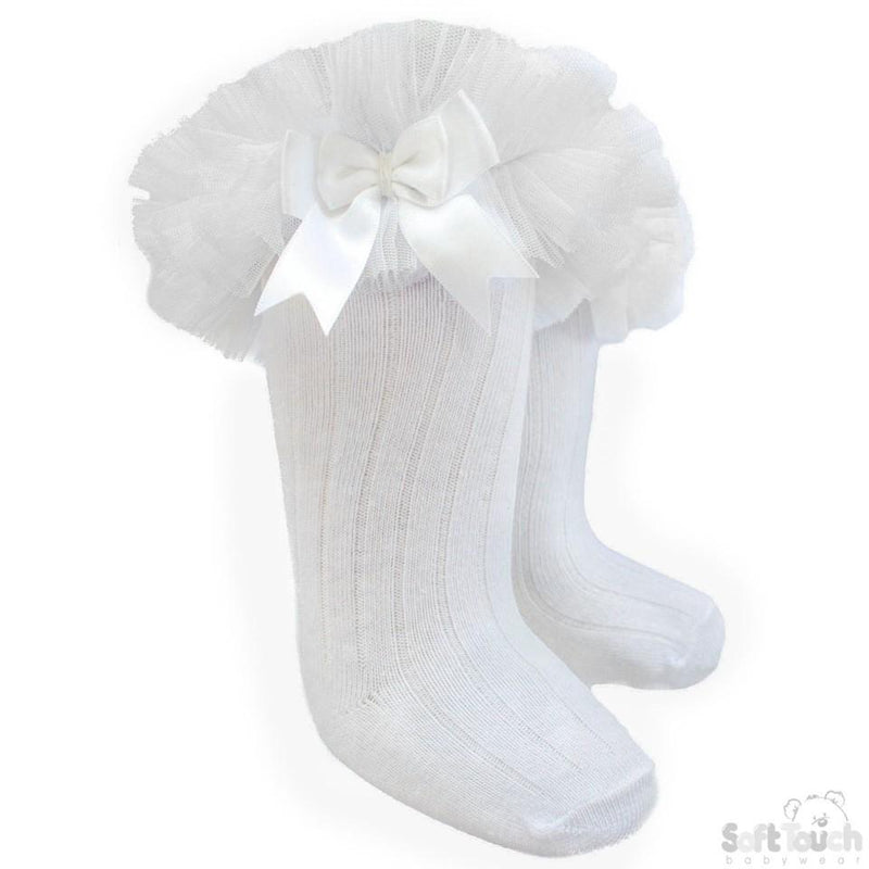 Infants Ribbed Knee-Length Socks W/Organza Lace & Bow - NB-18M (S72-W) - Kidswholesale.co.uk