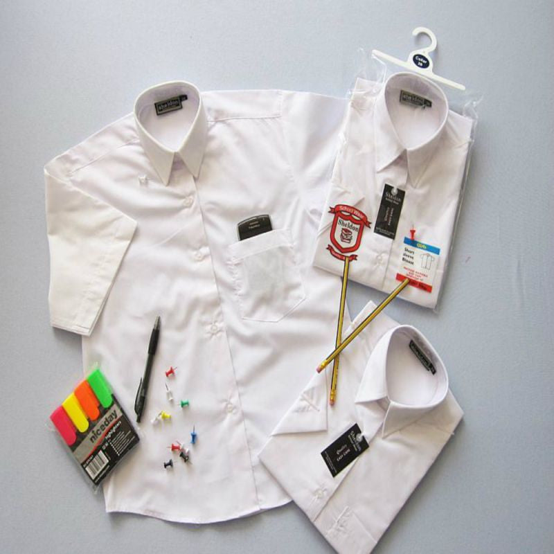 Boys Short Sleeved White Shirts 11-16.5