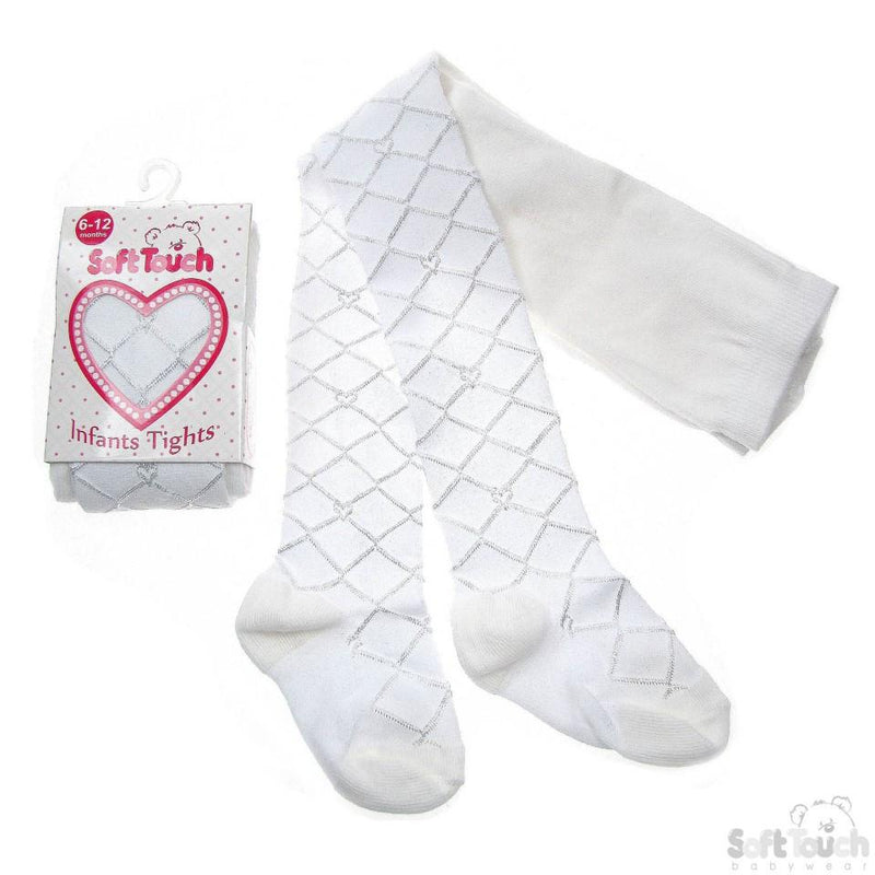 White Shiny Diamond Tights - T31-W - NB - 24 Months - Kidswholesale.co.uk