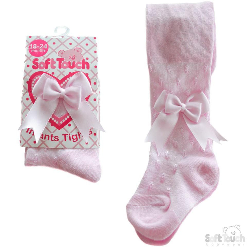 Pink Shiny Tights W/Double Bow: (T40-P) NB-12 Months - Kidswholesale.co.uk