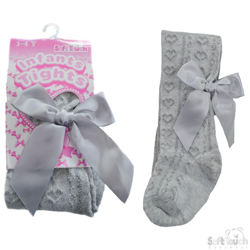 Girls Bow Tights Grey Spanish Style Hearts 3-4 Years