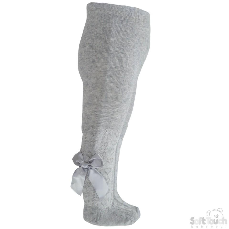 Girls Grey Hearts Jacquard Tights W/Long Bow - 2-5 Years - T51-G