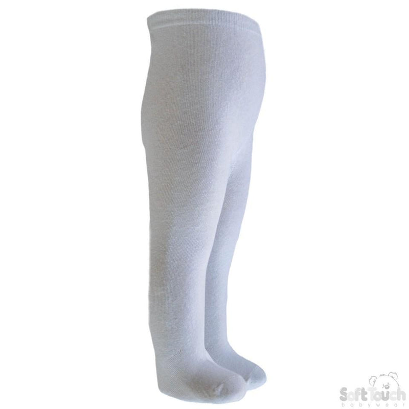 Plain White Cotton Tights - 7-8 Years - T80-W - Kidswholesale.co.uk