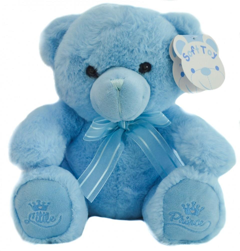 Blue Teddy Bear W/Little Prince Emb -18cm - TB218-B