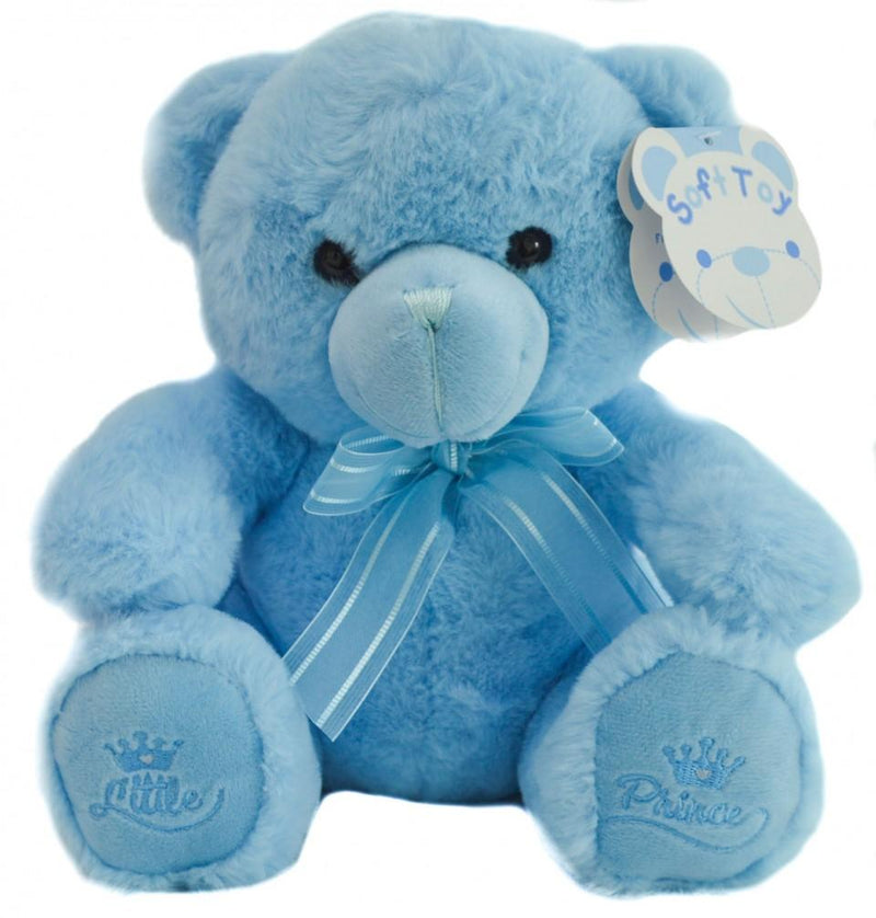 Blue Teddy Bear W/Little Prince Emb -18cm - TB218-B - Kidswholesale.co.uk