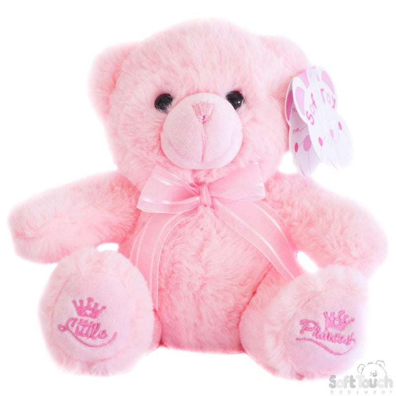 Pink Teddy Bear W/Little Princess Emb -18cm - TB218-P - Kidswholesale.co.uk