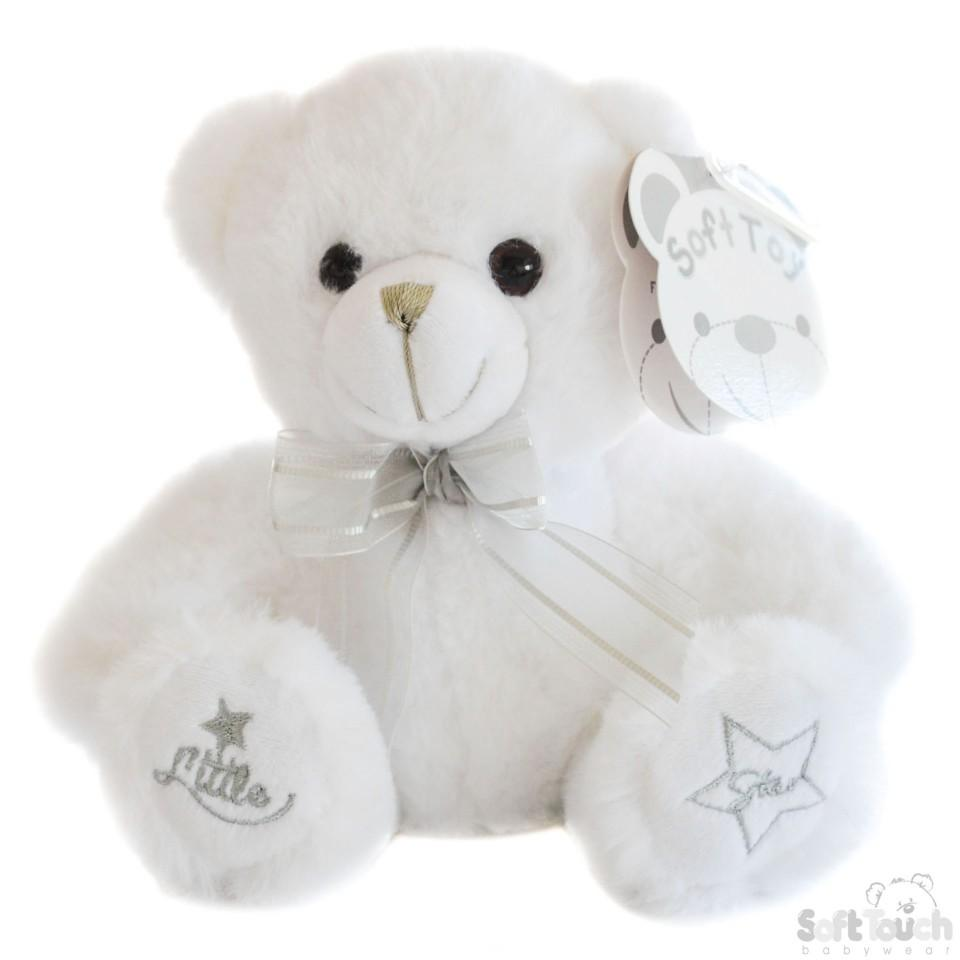 White Teddy Bear W/Little Star Emb -18cm - TB218-W