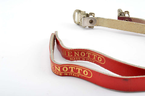 Benotto leather pedal straps (pair) in red frome the 1980s