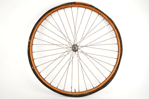 "28"" Front Wheel with Wooden tubular Rim and Union Hub from 1970s"