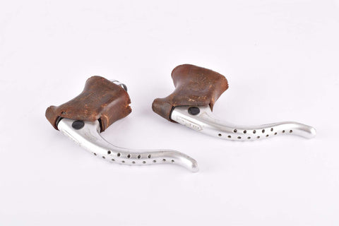CLB Professionnel (anodized) non-aero Brake Lever Set with brown hoods from the 1970s / 1980s