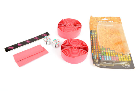 NEW 3ttt cork pink handlebar tape with silver end plugs from the 1980s NOS/NIB