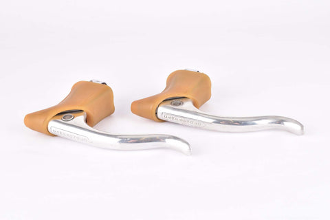 Campagnolo (Nuovo) Record #2030 polished brake lever set with brown replacement hoods from the 1960s - 80s