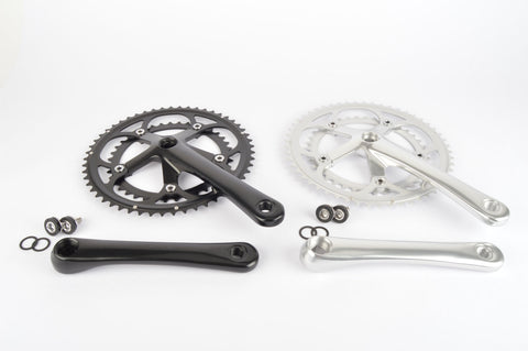 Square Taper Aluminium Crankset #SS-8215 double chainring, for road bike, black or silver, 170mm or 175mm