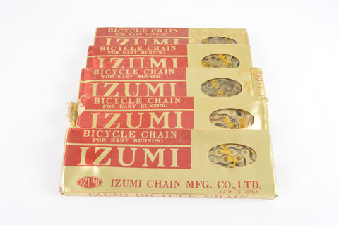 NOS 5 Izumi Easy Running Gold 5-6-7 speed road chain 1/2 x 3/32, 116 links from the 1980s NIB