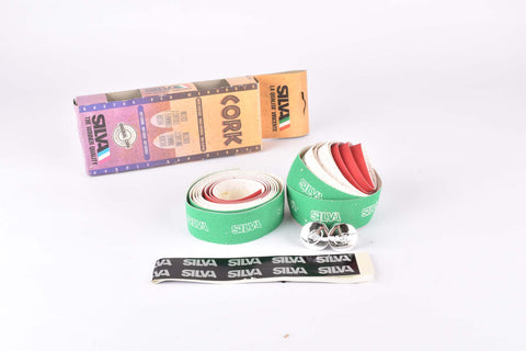 NOS Silva Cork Italian colors handlebar tape in green/white/red from the 1990s