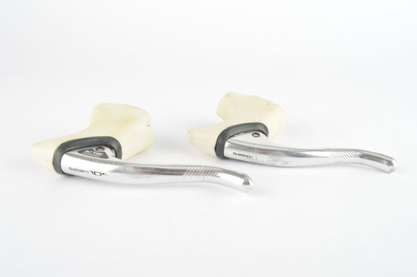 Shimano 105 #BL-1051 aero brake lever set with white hoods from the late 1980s
