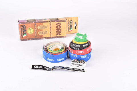 NOS Silva Cork Multicolor handlebar tape in blue/red/black/yellow/green from the 1990s