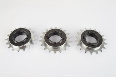 "Shimano #SF-MX single freewheel sprocket with 16, 17, 18 teeth (for 3/32"" and 1/8"" chains)"