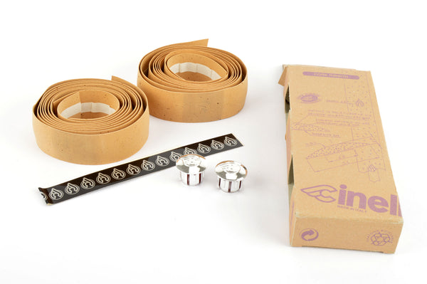 NOS/NIB Cinelli cork natural-colored handlebar tape with silver end plugs from the 1980s