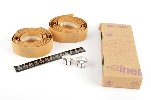 NEW Cinelli cork natural-colored handlebar tape with silver end plugs from the 1980s NOS/NIB