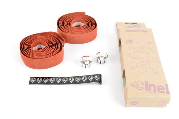 NEW Cinelli cork rustred handlebar tape with silver end plugs from the 1980s NOS/NIB