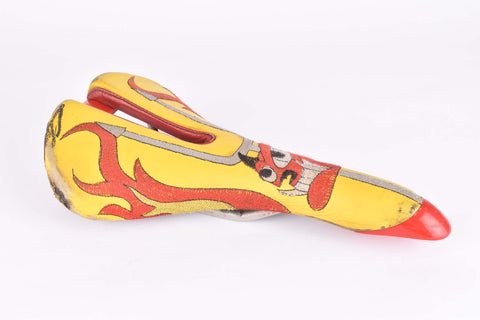 Yellow and red Selle Italia Mythos EL Diablo Saddle from the 1990s