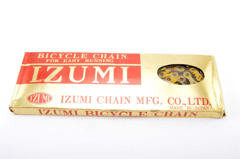 NEW Izumi Easy Running Gold/Black 5-6-7 speed road chain 1/2 x 3/32, 116 links from the 1980s NOS/NIB