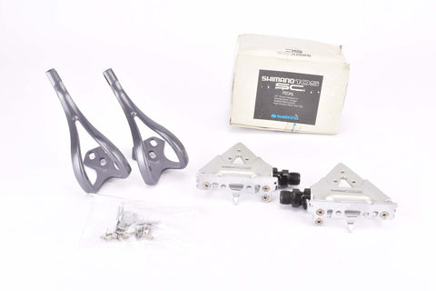 NOS/NIB Shimano 105 SC #PD-1055 Pedal Set with toe clips from the 1990s