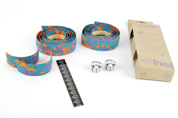 NEW Cinelli cork splash colored handlebar tape with silver end plugs from the 1980s NOS/NIB
