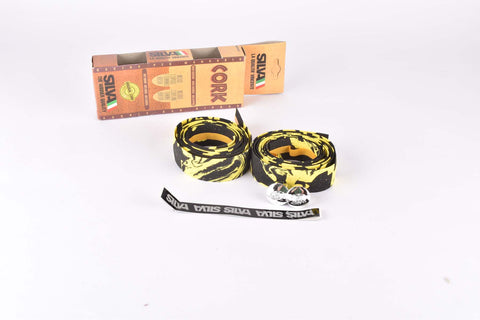 NOS Silva Cork handlebar tape in black/yellow from the 1990s