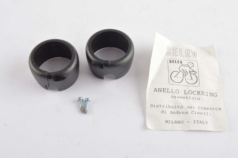 NEW black Selev Anello bar tape lockring set (2 pcs) from the 1980s NOS/NIB