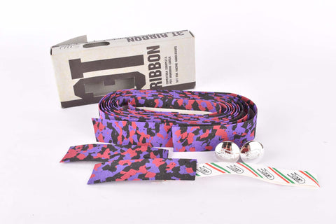 NOS 3ttt cork purple/black/red ribbon handlebar tape with silver end plugs from the 1980s NOS/NIB